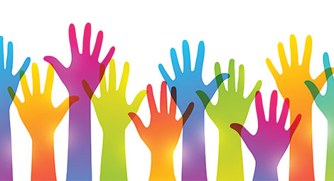 Image of raised hands in a variety of colours